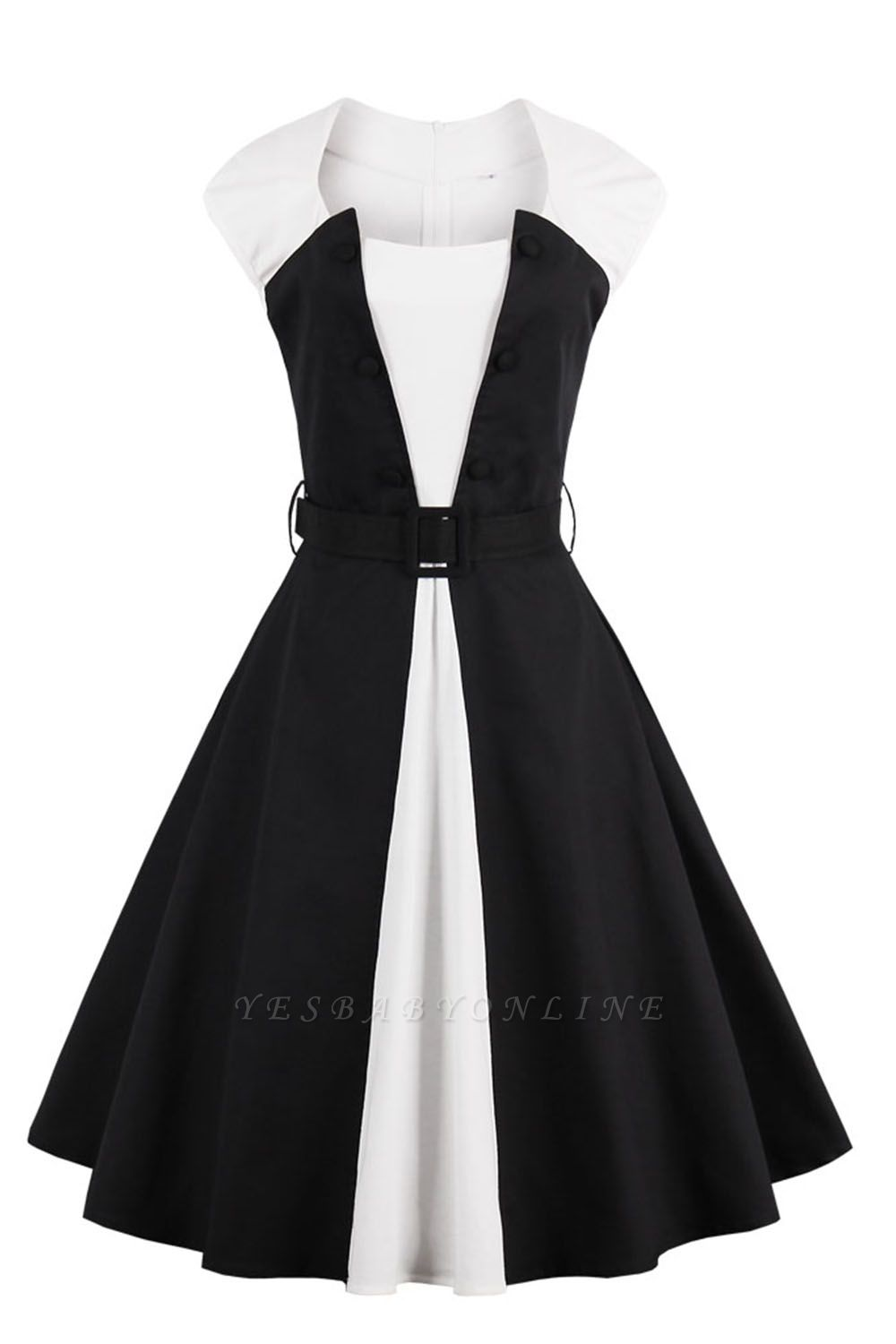1950S Belted White and Black Patchwork Swing Dress
