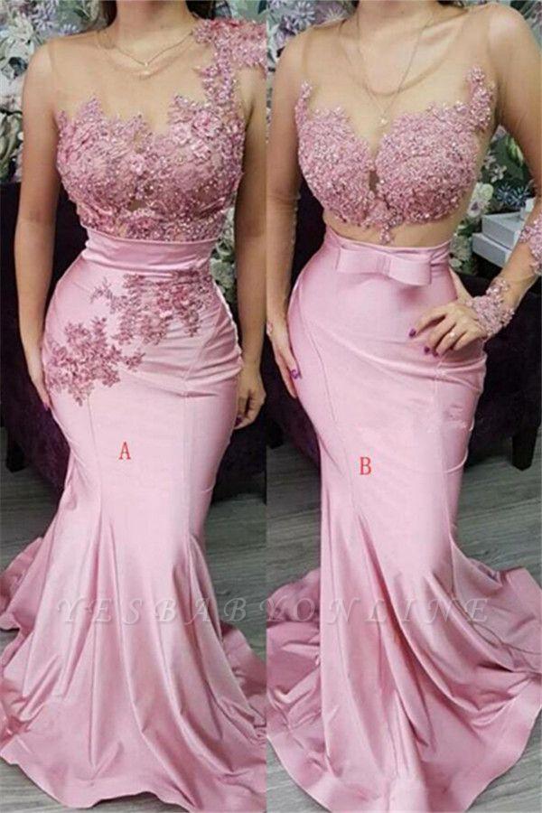 Pink Appliques Lace Mermaid Prom Dresses | Gorgeous Appliques Trumpet Evening Dress