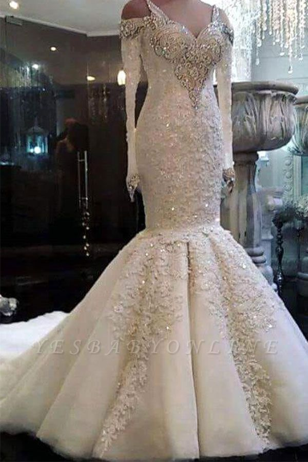 Charming Crystals Mermaid Wedding Dresses | Long Sleeves Appliques Bridal Gowns