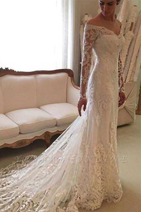 Long Sleeves Off-the-Shoulder Court Train Sheath Lace Wedding Dresses