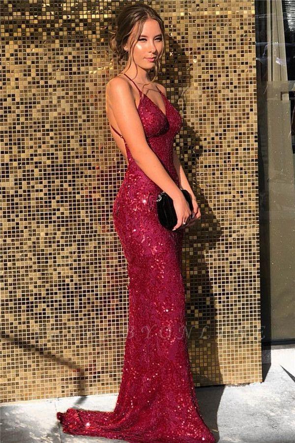 Sequined V-neck Spaghetti Straps Backless  Mermaid  Prom Dresses