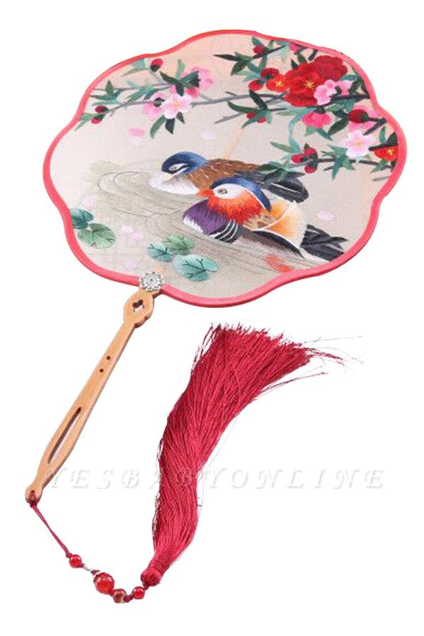 Chinese-Style Double Sided Embroidery Mandarin Duck Circular Fan With Wave Side