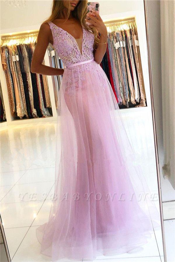 Straps A-line Backless V-neck Lace Tulle Prom Dresses
