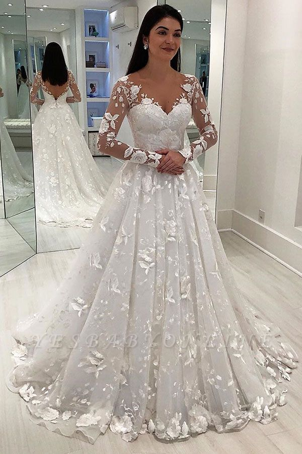 Gorgeous V-Neck Applique Long Sleeves Tulle Wedding Dresses