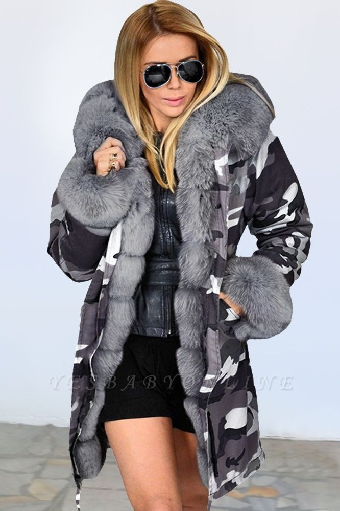 Camo Military Fur Lined Parka Coat with Faux Fur Hood