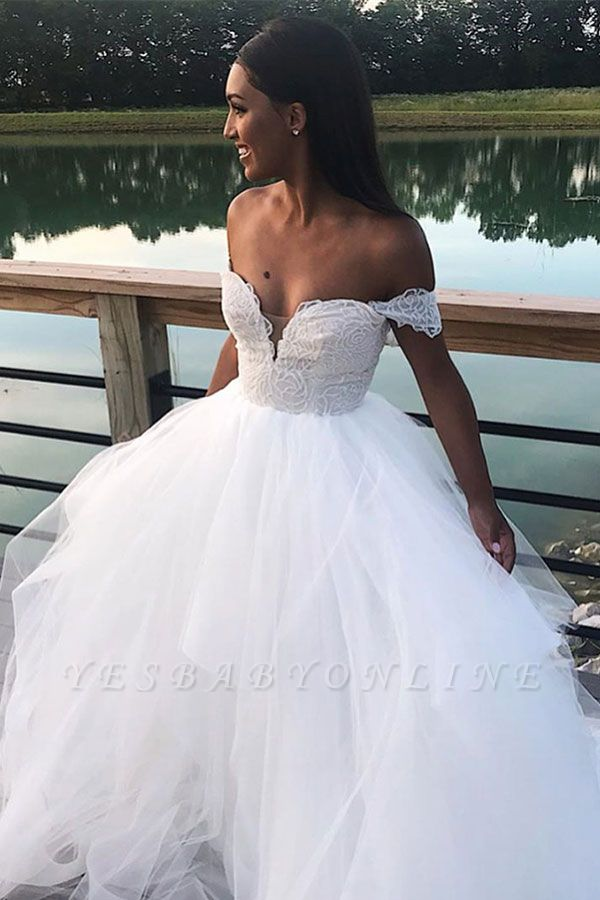 Chic Off the Shoulder Sweetheart Wedding Dresses