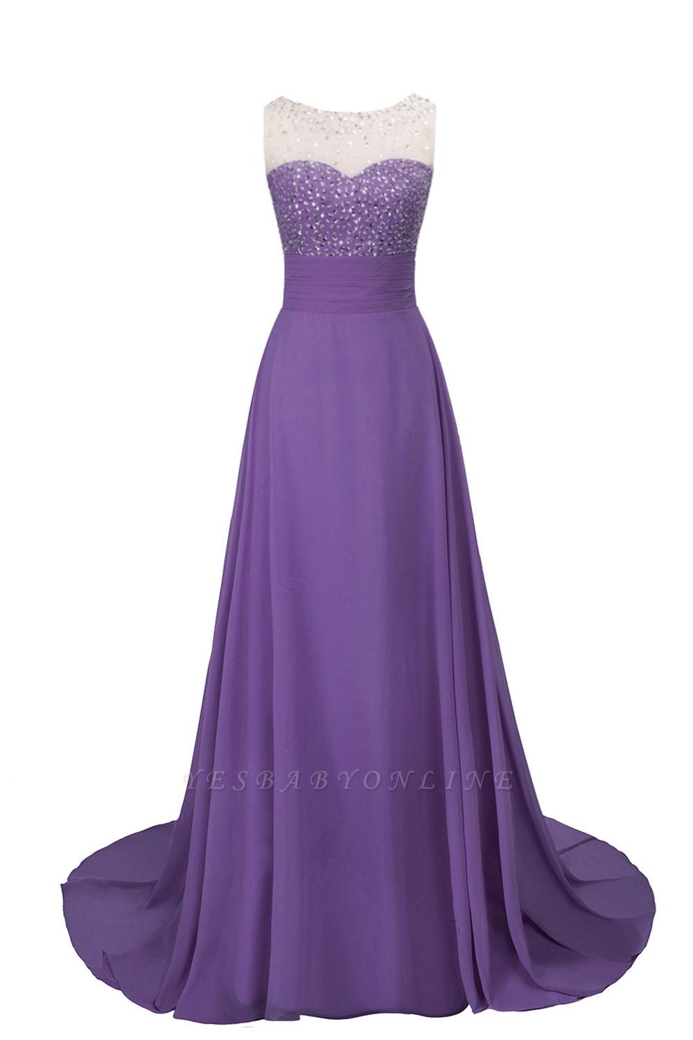 Cheap Grape A-line Sleeveless Sweep Train Prom Dress