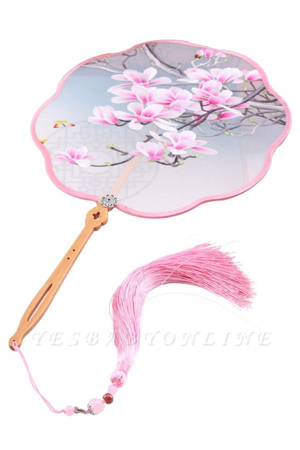 Chinese-Style Hand-Stitched Decoration Round Fan With Tassel Pendant