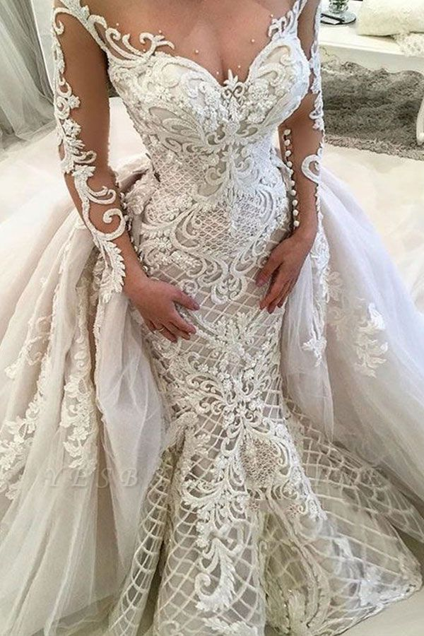 Glamorous Long Sleeves Mermaid Lace Overskirt Wedding Dresses