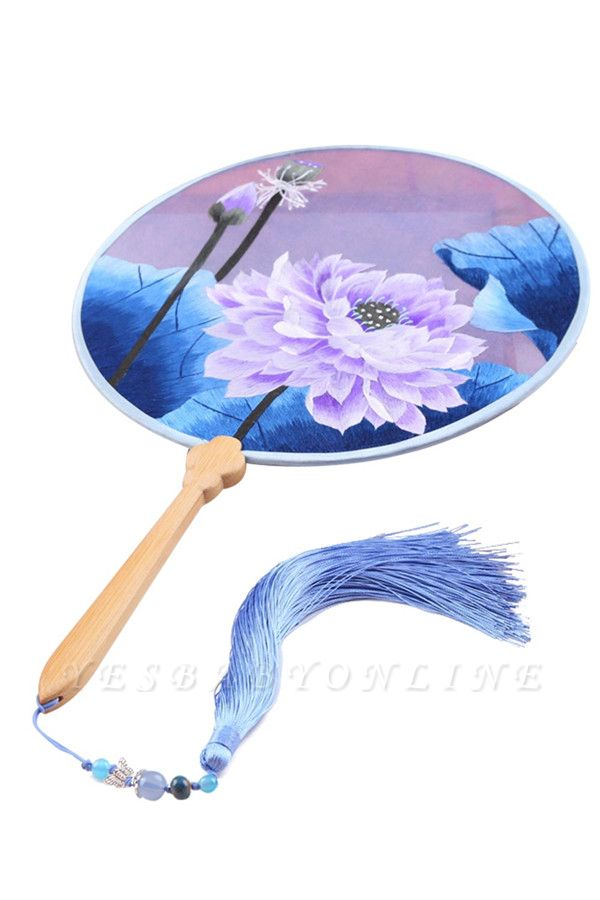 Chinese Vintage Double-faced Hand-Stitched Decoration Circular Handheld Fan With Tassel Pendant