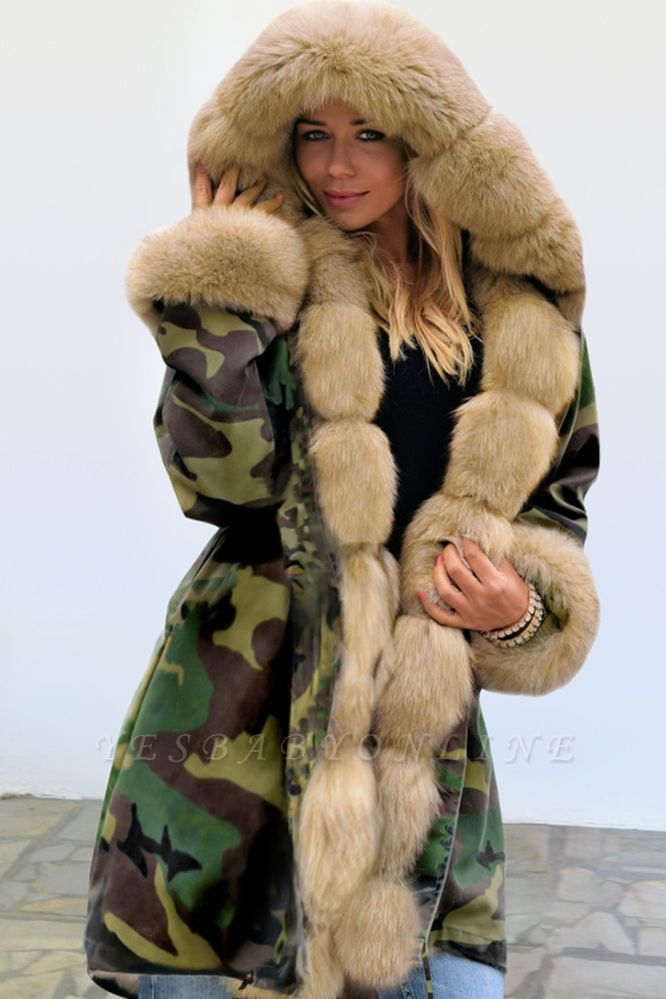 Camo Military Premium Fur Trim Parka Coat with Faux Fur Hood