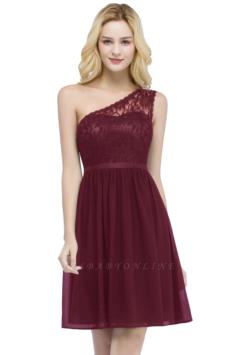 ROSA   A-line Short One-shoulder Lace Top Chiffon Homecoming Dresses with Sash