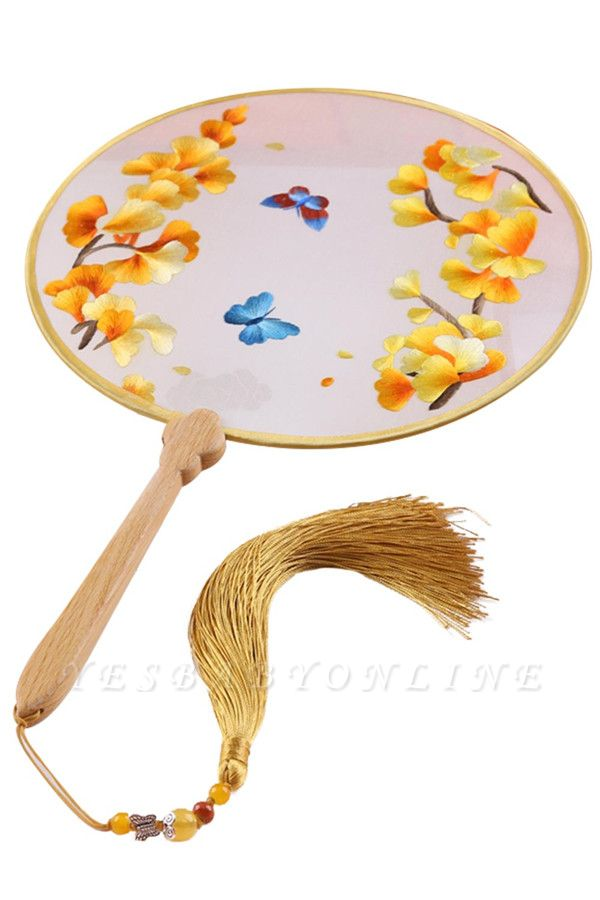 Chinese Classic Double-Sided Circular Embroidery Handheld Fan With Tassel Pendant