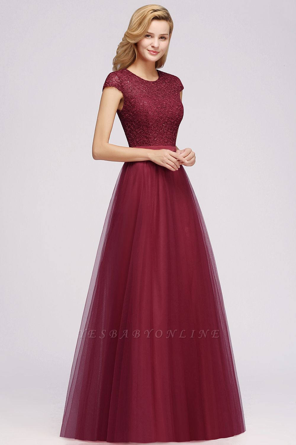 Cheap A-line Jewel Tulle Lace Bridesmaid Dress in Stock