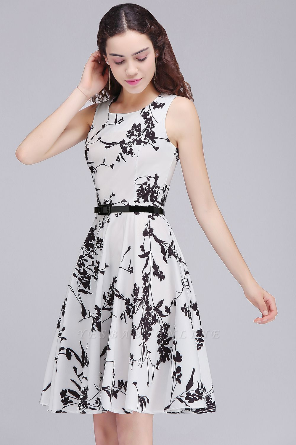 Sleeveless Belted Floral Printed Short Dress
