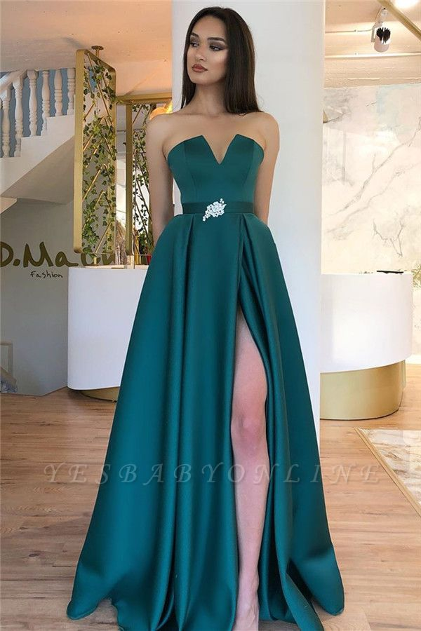 Alluring Strapless V-neck Belted Prom Dresses with A Leg Slit