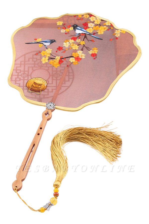 Chinese Traditional Hand-Embroidered Silk Eight Petal Fan With Tassel Pendant