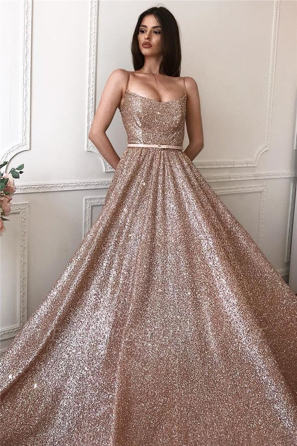 Sparkly A-line Spaghetti Straps Floor length Sequined Prom Dresses