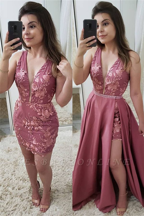 Deep V-neck Appliques  Prom Dresses with Detachable Sweep Train