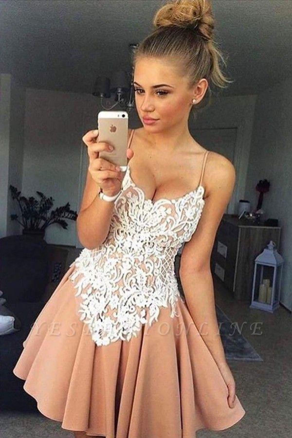 Elegant Spaghetti-Strap Homecoming Dresses   A-Line Appliques Cocktail Dresses