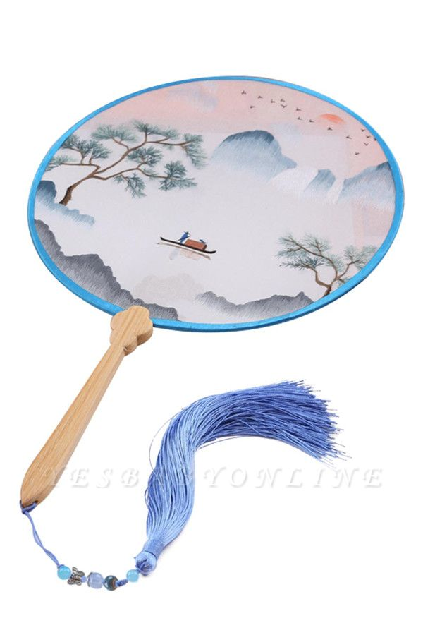 Chinese Classical Double-Sided Hand-Embroidered Circular Fan With Tassel Pendant