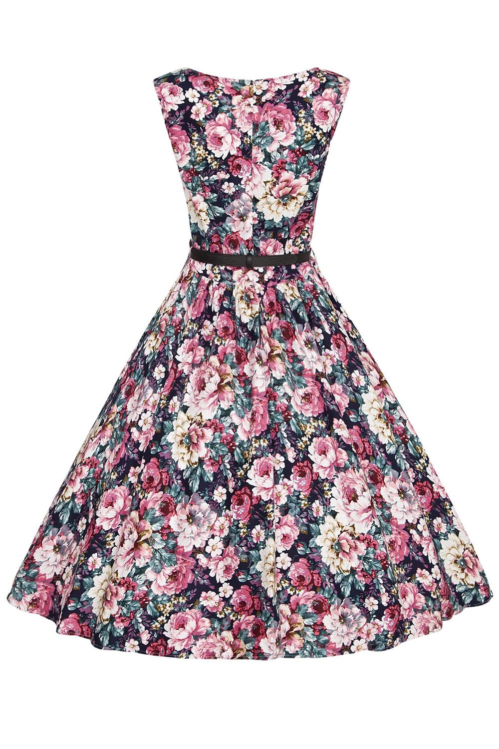 1950S Belted Floral Printed Retro Dress