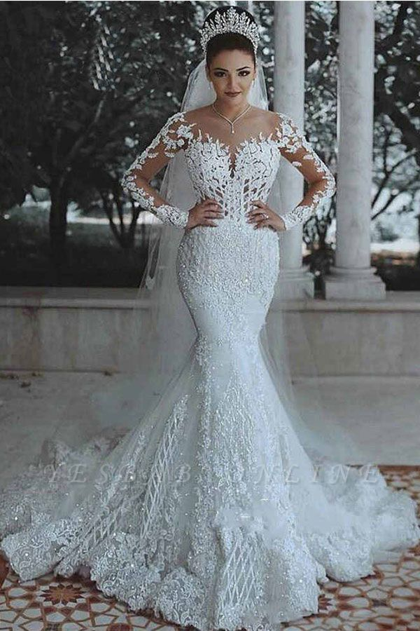 Glamorous Long Sleeves Wedding Dress Mermaid Lace Bridal Gowns Yesbabyonline Com