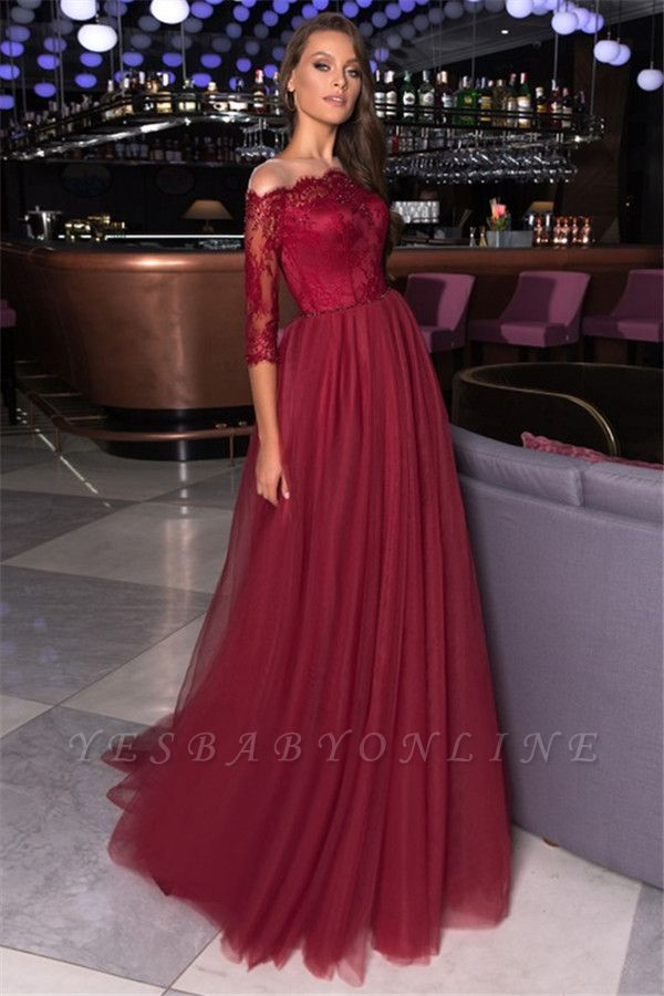 Gorgeous Off the Shoulder A-line Lace Tulle Prom Dresses