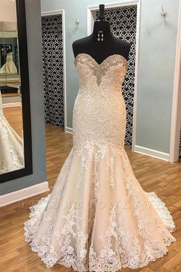 Sleek Court Train Sleeveless Applique Sweetheart Tulle Sexy Mermaid Wedding Dresses