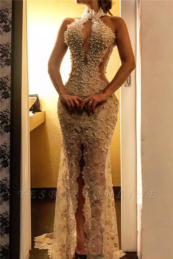 Beading Halter Keyhole Lace Mermaid Prom Dress with Front Slit BC2710