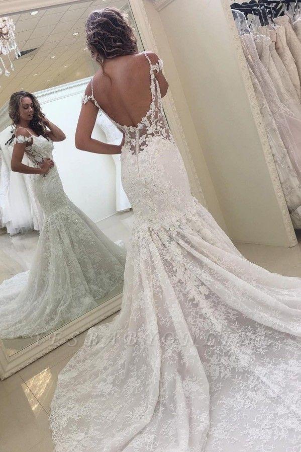 White Off-the-shoulder Mermaid Lace Modern Wedding Dress