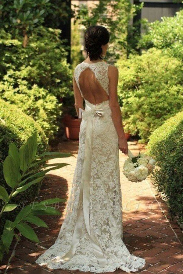 Elegant Sweep Train Sleeveless V-neck Lace Wedding Dresses