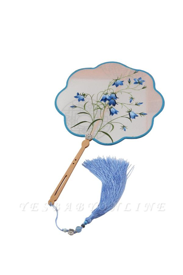 Chinese Traditional Su Embroidery Hand Fan With Tassel Pendant