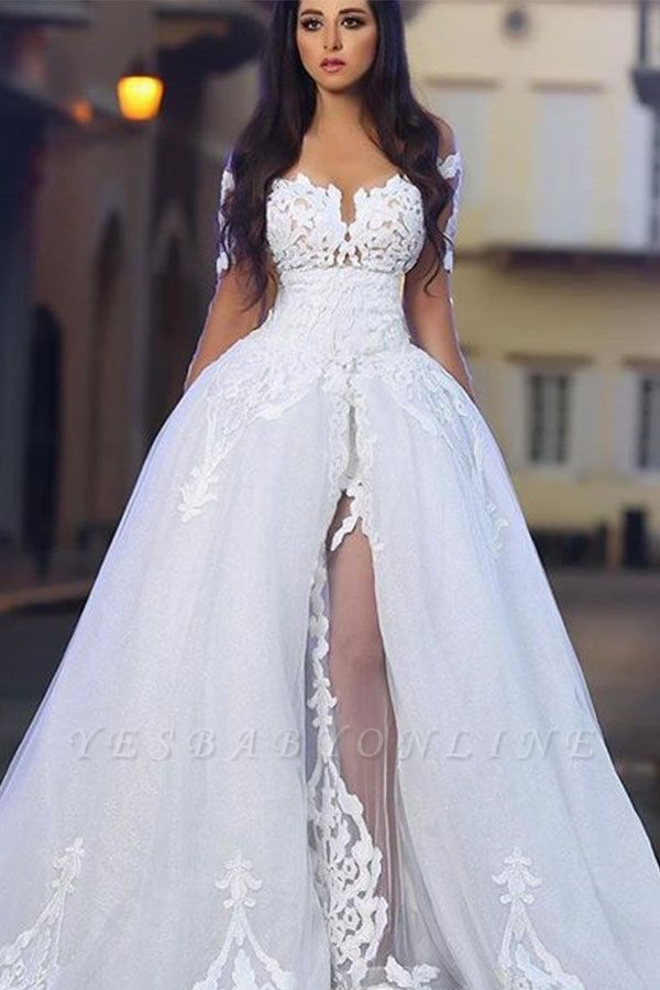 Princess Ball Gown Wedding Dresses | Glamorous White Appliques Bridal Gowns  with Overskirt