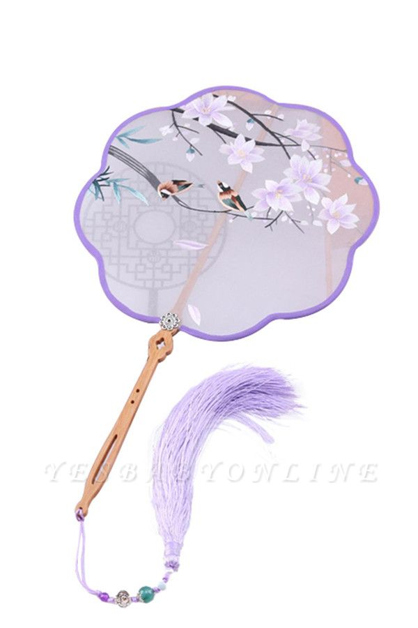 Chinese Vintage Double-Sided Hand-Embroidered Silk Fan With Hand Tassels