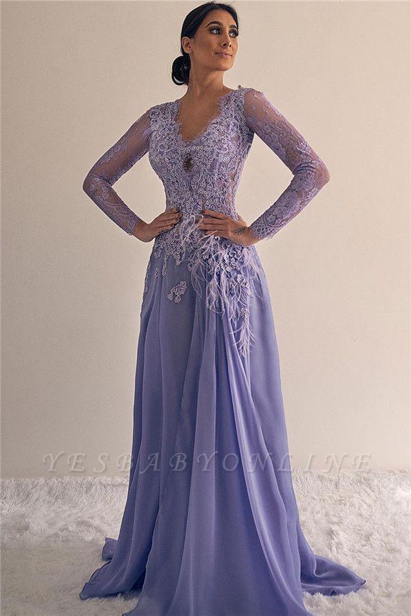 Elegant Long Sleeves V-neck A-line Lace Appliques Prom Dresses