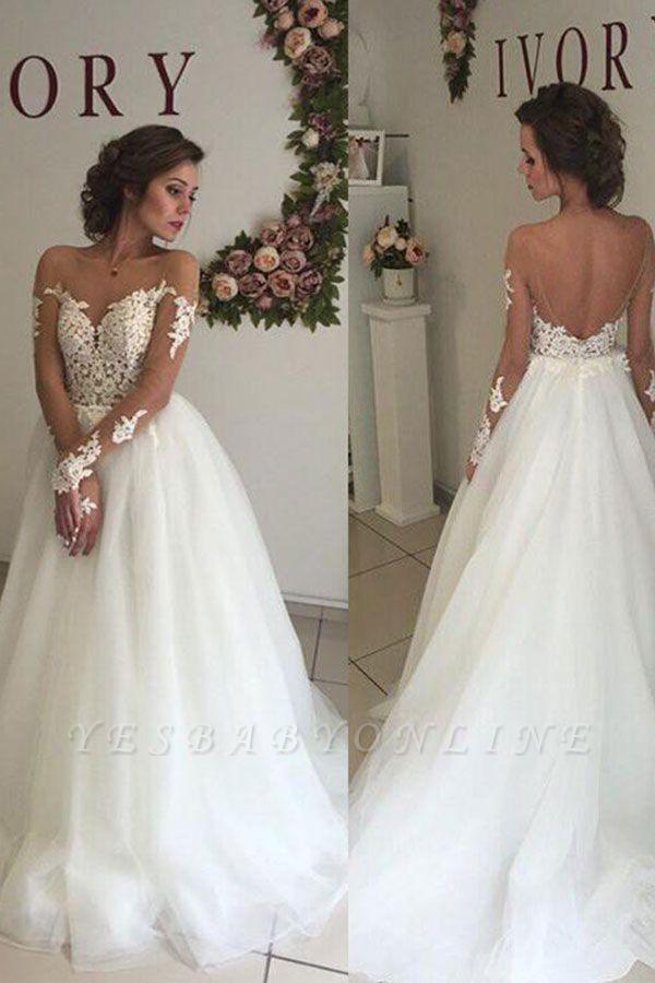 Long Sleeves Sweep Train Off-the-Shoulder Organza Wedding Dresses