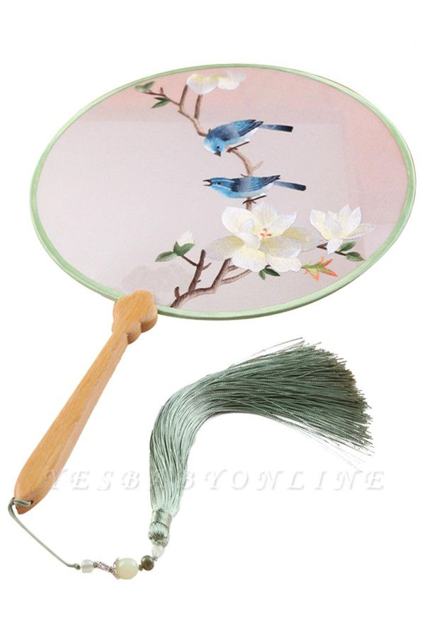 Chinese-Style Retro Double-faced Hand-Embroidered Palace Fan With Hand Tassels