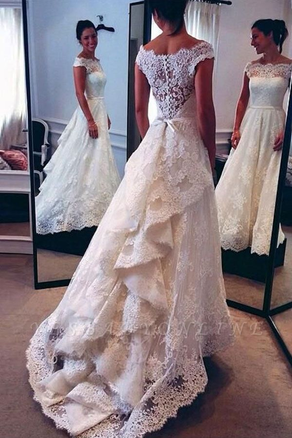 Classic Capped Sleeves Lace A-line Wedding Dress with Tiers Train