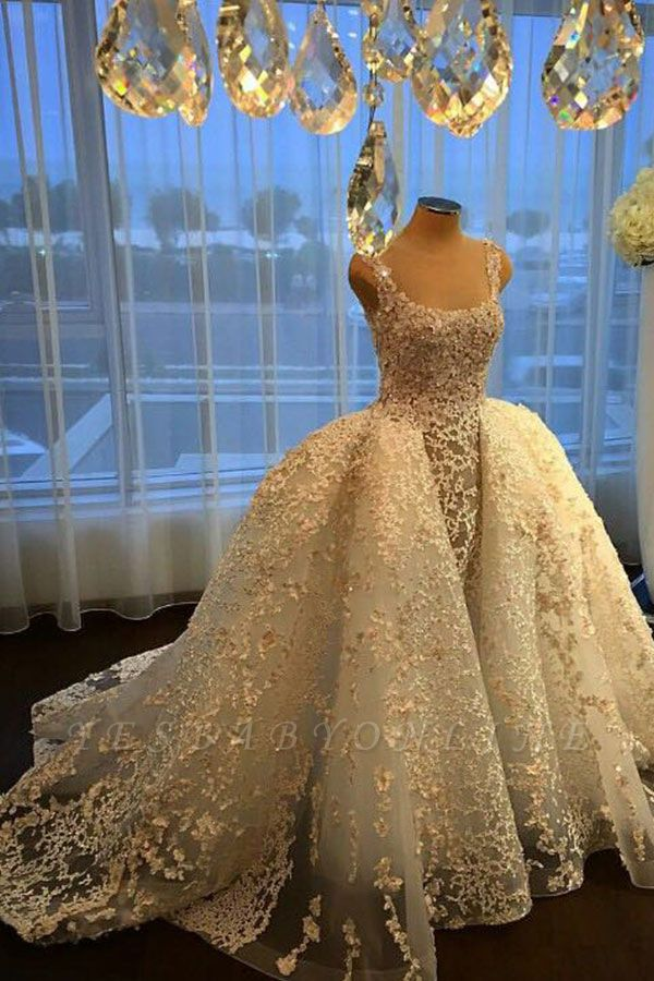 Charming Ball Gown Wedding Dresses | Straps Lace Appliques Bridal Gowns  with Overskirt