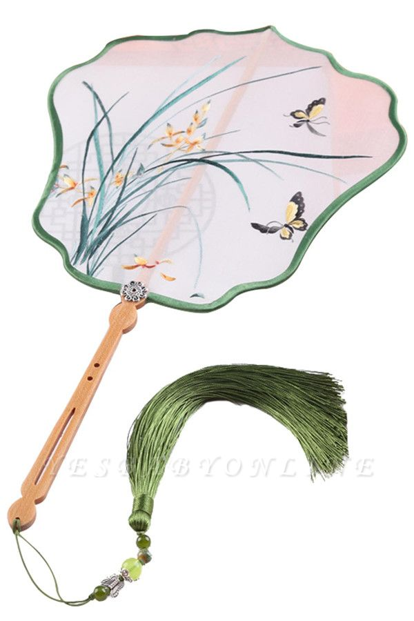 Chinese Traditional Su Embroidery Silk Eight-Petal Fan With Tassel Pendant