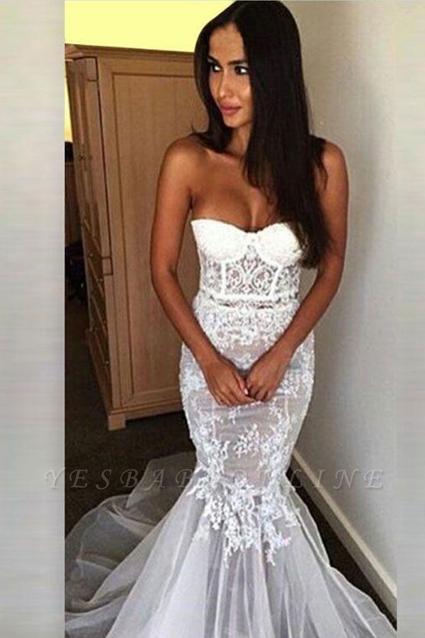 Affordable Sweetheart Sleeveless Sexy Mermaid Tulle Wedding Dress