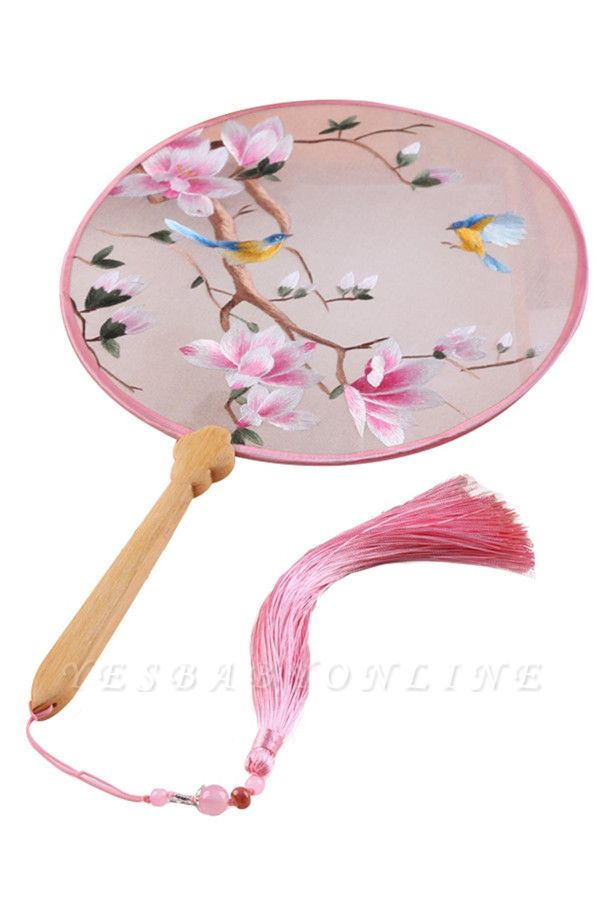Chinese Traditional Silk Circular Fan With Hand Tassels