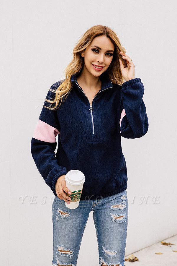Women's Winter Patchwork Halp Zip Fuzzy Pullovers