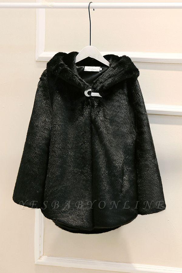 Black Cape Type Hooded Faux Fur Coat