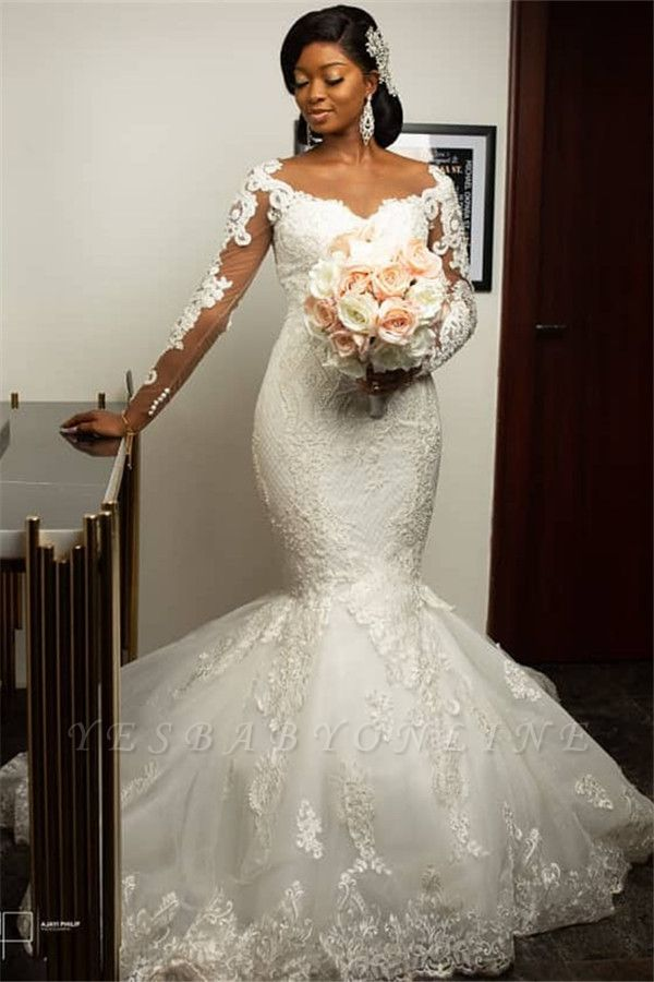 Form Fitting Long Sleeves Applique Mermaid Wedding Dresses Gorgeous Trumpet Bridal Gown