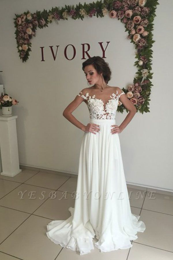 Glamorous Lace Appliques Side Slit A-line Chiffon Beach Wedding Dresses