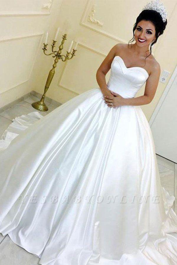 Sleek Cathedral Train Ribbon Sweetheart Puffy Sleeveless Satin Wedding Dresses