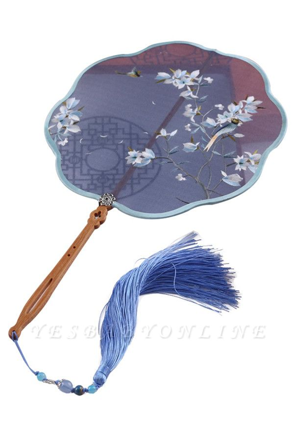 Chinese Retro Double-Sided Hand-Embroidered Circular Fan With Tassel Pendant
