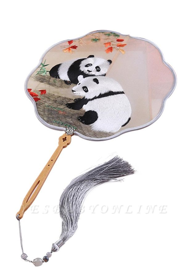 Chinese Classical Panda Embroidery Circular Fan With Tassel Pendant